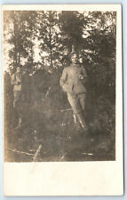 Antique WW1 GERMAN Real Photo RPPC Feldpost Postcard OFFICER Soldier in Uniform