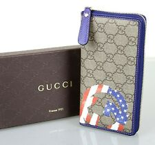 New Authentic Gucci GG Plus USA American Flag Zip Around Wallet, 304196 9766