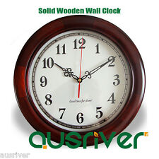 Classic Numeral Solid Basswood Wood Wooden Wall Clock Home Decor Silent Sweep