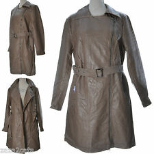 Femme Manteau Long Simili Cuir Aspect Vielli Trench MARRON T 5 50 52 SYDNEY