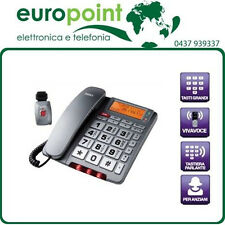 Telefono fisso con medaglione SOS allarme tasti grandi per anziani e vivavoce
