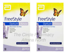 Genuine 2 x Abbott FreeStyle Optium Blood ß-Ketone Test Strips 2 x 10 Pack