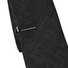 Mens Boys 2CM Black Grey Tie Bar  Skinny Standard Slim Clip Clasp Pin