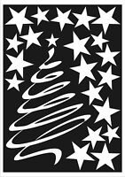 White Christmas Tree and 20 Stars Window Stickers Snowflake Winter Decorations