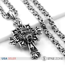 Men Stainless Steel Gothic 3D Tiger Head on Cross Pendant Heavy Box Necklace Q18
