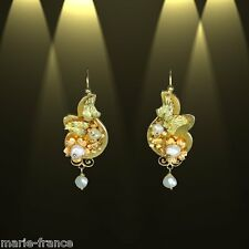 Charming Art Nouveau yellow gold filigree & pearl estate earrings M-F