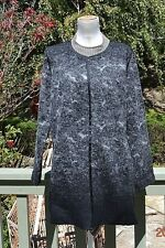 NWT $468 EILEEN FISHER  black felted wool sprinkle round neck long jacket sz XL