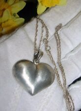 "Vintage Sterling Silver *BIG Puffy Heart Pendant Necklace  18"" Chain ~ 925 stamp"
