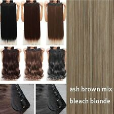 USA Extra Long 100% Natural Extensions Clip IN HAIR EXTENTIONS 3/4 Full Head lk8