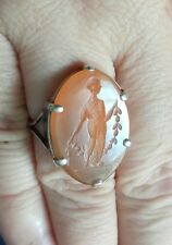 VICTORIAN SILVER CARNELIAN INTAGLIO SEAL RING DEPICTING GREEK GODDESS DEMETER