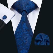 C-1435-B Classic Blue Paisleys Mens 100% Silk Tie Set Necktie Hanky Cufflinks