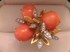 Vintage Pink Coral Cabochon & Diamond Ring 18K Yellow Gold Size 6 1/2