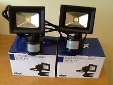 led f.light  x 2,superior quality,Elex 10 watt with sensor,cool white,rrp £58