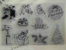 Acrylic Stamps Clear Exchangeable 10 Varied Christmas Xmas designs AM106
