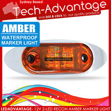 12V CHROME BEZEL SLEEK AMBER WATERPROOF LED MARKER/CLEARANCE/TRAILER/BOAT LIGHT