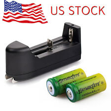 2pcs 1800mAH 3.7v Li-ion 16340 CR123A Rechargeable Battery + Smart Charger USA