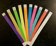 """500  3/4"""" (50 each of 10 colors) TYVEK WRISTBANDS, PAPER WRISTBANDS"""