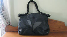 Vintage 70s 80s Large Black Leather Purse Tote Bag Disco Punk Hippie Boho