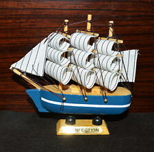 "Ship 4.4"" Tall Detailed Wooden Boat Model Nautical Home Decor Collectible -C"
