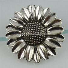 12494 5PCS Alloy Vintage Silver Tone Flower Sunflower Pendant Bail Charm