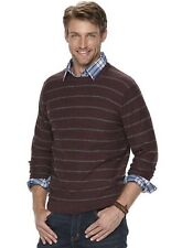 Men's SONOMA Goods for Life Striped Crewneck Sweater XL Burgundy NWT
