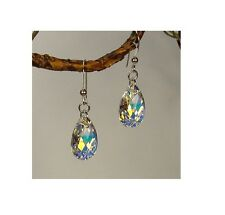 Jewelry by Dawn Sterling Silver Teardrop Aurora Borealis Crystal Pear Earrings