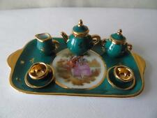 Vintage Limoges Porcelain d'Art Miniature Watteau Green Tea Coffee Set & Tray