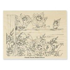HOUSE MOUSE RUBBER STAMPS FENCE FALLING STAMP