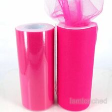 "6""x25YD Hot Pink Tulle Roll Spool TUTU Gift Bow For Wedding Wall CHAIR Venue DIY"