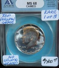1966 SMS KENNEDY HALF DOLLAR ANACS MS68 CAMEO TOP POPULATION CAMEO 1/3 MONSTER