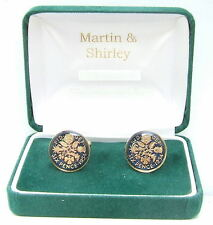 1954 6D cufflinks from real coins in Blue & Gold