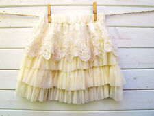 Girls cream layered tulle ruffles tutu for ages 4-8