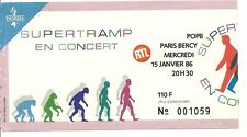 RARE / TICKET DE CONCERT - SUPERTRAMP : LIVE A PARIS ( FRANCE ) 1986