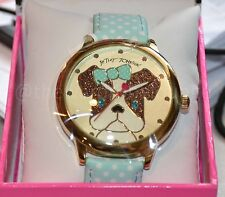NEW Betsey Johnson SPARKLY Puppy Pug Girl Blue Polka Dot Bow Gold Tone Watch