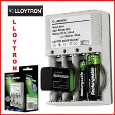 Lloytron Plug In Battery Charger UK Mains Ni-Mh Fast Rechargeable Travel PP3 AA