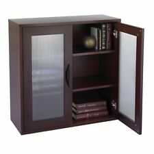 Storage Bookcase with Glass Doors 30-in. High -, Mahogany
