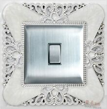 Silver Princess Crown Single Light Switch Surround Socket Finger Plate Panel