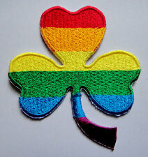 GAY PRIDE RAINBOW COLOR SHAMROCK Embroidered Iron on Patch Free Postage