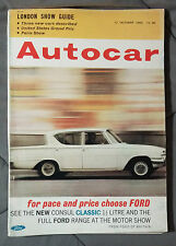 AUTOCAR LONDON SHOW REPORT OCTOBER 1962 FORD CONSUL CLASSIC PARIS USA GRAND PRIX