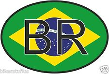 BR BRAZIL COUNTRY CODE OVAL WITH FLAG STICKER