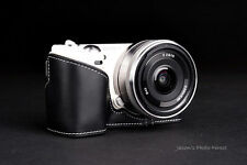 Handmade Vintage Black Genuine real Leather Half Camera Case for Sony NEX5N