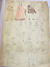 COLLECTION OF 1920's VINTAGE THEATRE COSTUME SKETCHES TUDOR VICTORIAN GEORGIAN
