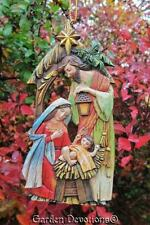 """Unique 5"""" NATIVITY STABLE STAR ORNAMENT Wood Carved Look ~ LOVELY!"""