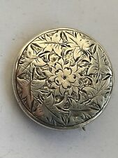 Antique beautiful carving silver front brooch