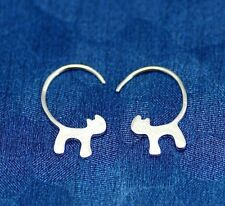 New Cat Kitten Hoop Earrings Sterling Silver 925 Plated Women