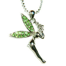 Green PIXIE ANGEL w Swarovski Crystal fairy ~Tinkerbell~ Tinker Pendant Necklace
