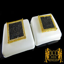 Men's New XL Flat Screen Black/White Diamond Simulated Square Flat Stud Earrings