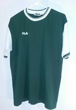 Vintage FILA Sports Shirt Size Medium Made in Italy Green White
