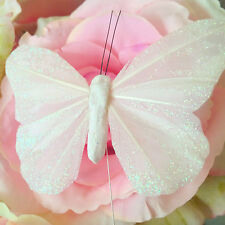 White 10cm Glitter Feather Butterflies x12, Ivory Shabby Chic Wedding Decoration