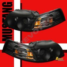 1999-2004 Ford Mustang GT Cobra V6 Black Projector Headlights 1 Pair 00 01 02 03